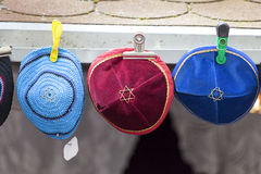 Colorful handmade Jewish caps with Star of David , Kippah,  Prague, Czech Republic Royalty Free Stock Photography
