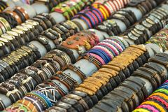 Colorful handmade leather bracelets Stock Photography