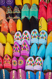 Colorful handmade leather slippers. (babouches) on a market in Marrakech, Morocco Royalty Free Stock Images