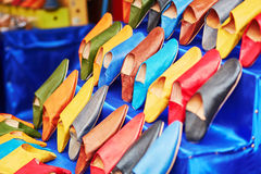 Colorful handmade leather slippers on a market in Marrakech, Morocco Royalty Free Stock Photography