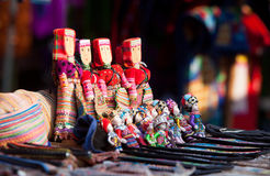 Colorful handmade puppets dressed traditional costumes Stock Photo