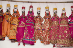 Colorful handmade puppets, India Stock Images