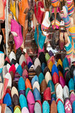 Colorful handmade slippers. Colorful Moroccan handmade slippers closeup Stock Photos