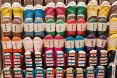 Colorful handmade slippers. Colorful Moroccan handmade slippers closeup Stock Photo