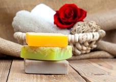 Colorful handmade soap bars Stock Photos
