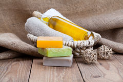 Colorful handmade soap bars Royalty Free Stock Images