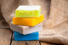 Colorful handmade soap bars Royalty Free Stock Photos