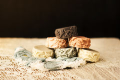 Colorful handmade soap. With herb decorated with patterns Royalty Free Stock Photo