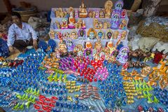 Colorful handmade toys, locally called Khelna, in a Bangla Pohela Baishakh fair. The century's old traditional Boishakhi Fair-cum-Abdul Jabbar Wrestling Royalty Free Stock Photography