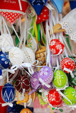 Colorful handmade traditional Slovak Easter eggs royalty free stock image