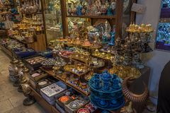 Istanbul, Turkey - 6.18.2018 : Turkish Ceramics at Grand Bazaar royalty free stock images