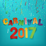 Colorful handmade typographic word carnival 2017. Colorful handmade typographic word carnival 2017 on background with ribbons and confetti. Greeting card Royalty Free Stock Photos