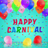 Colorful handmade typography words carnival. Colorful handmade typography words on blue carnival background with realistic balloons and confetti. Poster, flyer Stock Photo