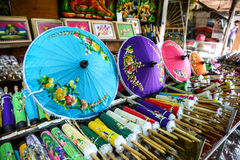 Colorful handmade umbrella for sale Stock Photography