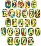 Colorful handmade of white clay alphabet Stock Image
