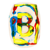 Colorful handmade of white clay letter B Stock Image