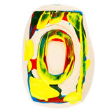 Colorful handmade of white clay letter O Royalty Free Stock Photo