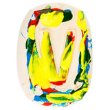Colorful handmade of white clay letter V Royalty Free Stock Photos