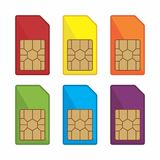 Colorful sim card vector icon. royalty free illustration