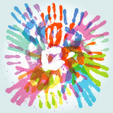 Colorful handprint. Colorful hand prints, abstract background, vector illustration Stock Images