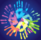 Colorful handprint. Multi-colored prints of the hands, abstract background, vector illustration Stock Illustration