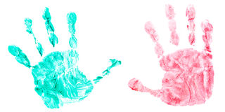 Colorful handprint of a childs hands Royalty Free Stock Photo