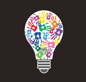 Colorful handprint in lightbulb shape , symbol of thinking concept. EPS10 Stock Photos