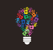 Colorful handprint in lightbulb shape , symbol of thinking concept. EPS10 Royalty Free Stock Image