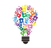 Colorful handprint in lightbulb shape , symbol of thinking concept. EPS10 Stock Images