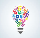 Colorful handprint in lightbulb shape , symbol of thinking concept. EPS10 Royalty Free Stock Photos