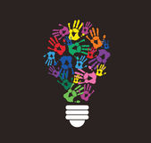 Colorful handprint in lightbulb shape , symbol of thinking concept Stock Photo