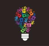 Colorful handprint in lightbulb shape , symbol of thinking concept. EPS10 Stock Photo