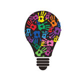 Colorful handprint in lightbulb shape , symbol of thinking concept Stock Image
