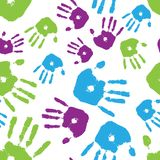 Colorful Handprint Seamless Tile Stock Photos