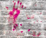 Colorful handprint on wall royalty free stock photos