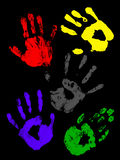 Colorful handprints of childs. Handprint of a child with colors Royalty Free Stock Image