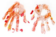 Colorful handprints handpainted by children isolated on a white Stock Photo