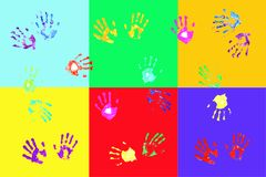 Colorful handprints by kids Stock Image