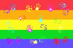 Colorful handprints by kids Stock Images