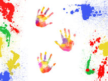 Colorful handprints and paint color blobs Stock Images