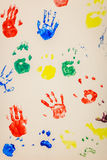 Colorful handprints. Seamless pattern with a colorful handprints royalty free stock images