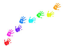 Colorful handprints trail. Isolated on white background stock images