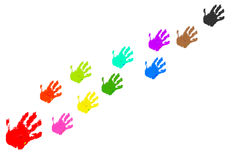 Colorful handprints Stock Image
