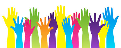 Colorful hands. Vector isolated illustration of group of rainbow raising hands on white background can means voting, unity, revolution, gay rights, help, concert