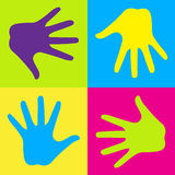 Colorful hands. Group of vector rainbow children hands on colorful background. Ideal for website illustration, prints, icons, logos for school, preschool, unity Royalty Free Stock Photos
