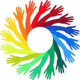 Colorful hands. Illustration art of a colorful hands logo with isolated background Royalty Free Stock Photo