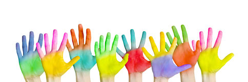 Colorful hands Stock Images