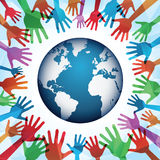 Colorful hands around the world Royalty Free Stock Images