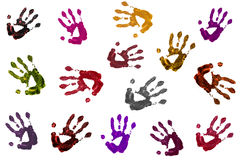 Colorful hands in a background. Different color of hands are seeing in this background Stock Photography