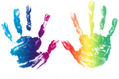 Colorful hands child printed Royalty Free Stock Photo
